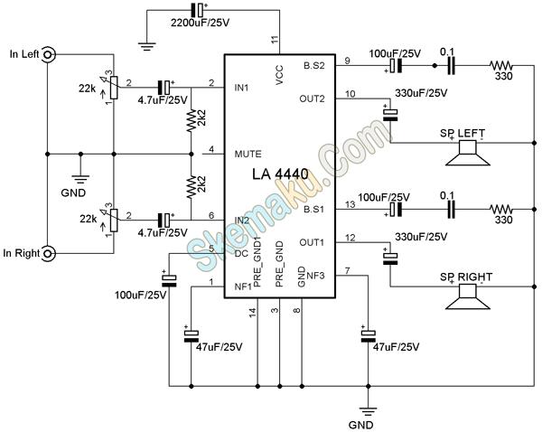 amplifier stereo dengan la4440  u00bb skemaku com