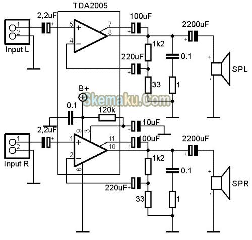 skema rangkaian amplifier tda2005  u00bb skemaku com