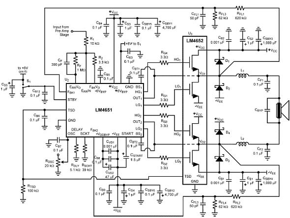 rangkaian power amplifier 170 watt