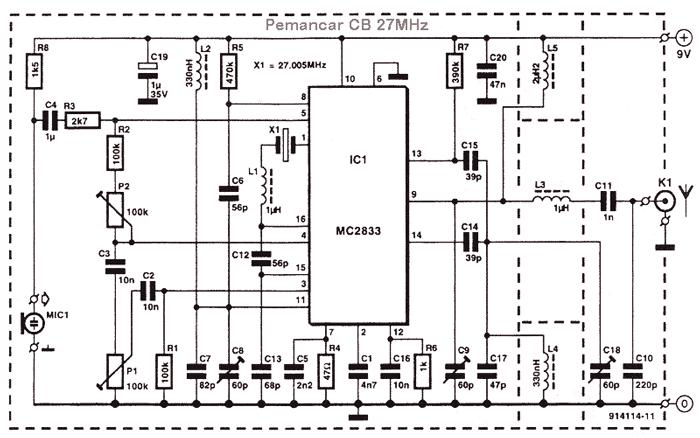rangkaian pemancar cb 27 MHz