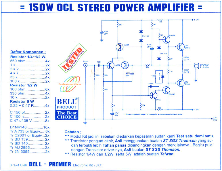 Rangkaian Power Amplifier Ocl 150 Watt 187 Skemaku Com