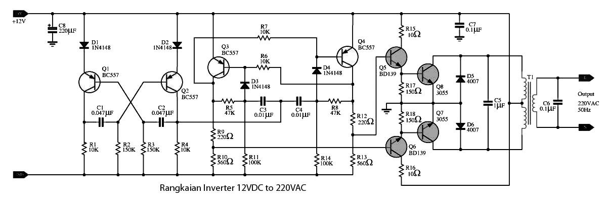 rangkaian inverter 12 vdc ke 220 vac