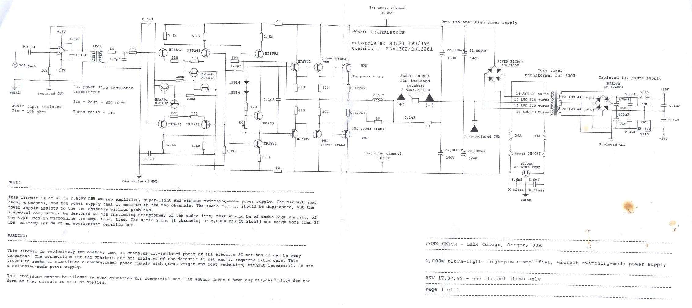 Rangkaian Power Amplifier Daya Tinggi 5000 Watt » Skemaku com