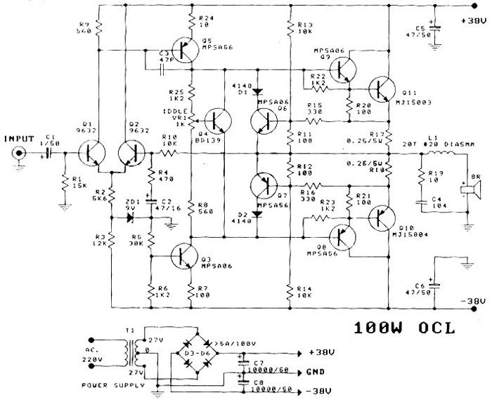 rangkaian-power-amplifier-OCL-100-Watt