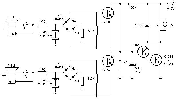 rangkaian speaker protektor stereo 4 transistor  u00bb skemaku com