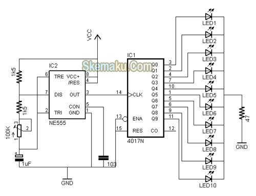 rangkaian lampu led berjalan  running led  dengan ic4017