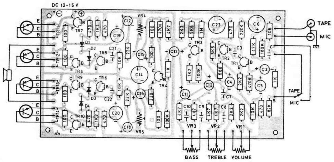 layout pcb rangkaian amplifier BTL 8 Watt