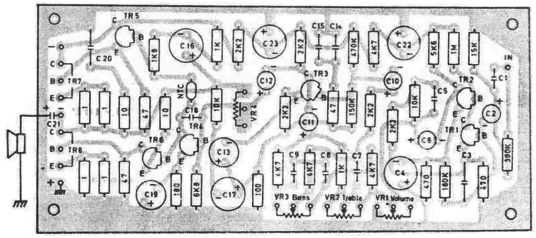 layout-pcb rangkaian amplifier OTL 10 Watt Hi-Fi