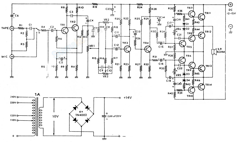 rangkaian amplifier BTL 8 Watt