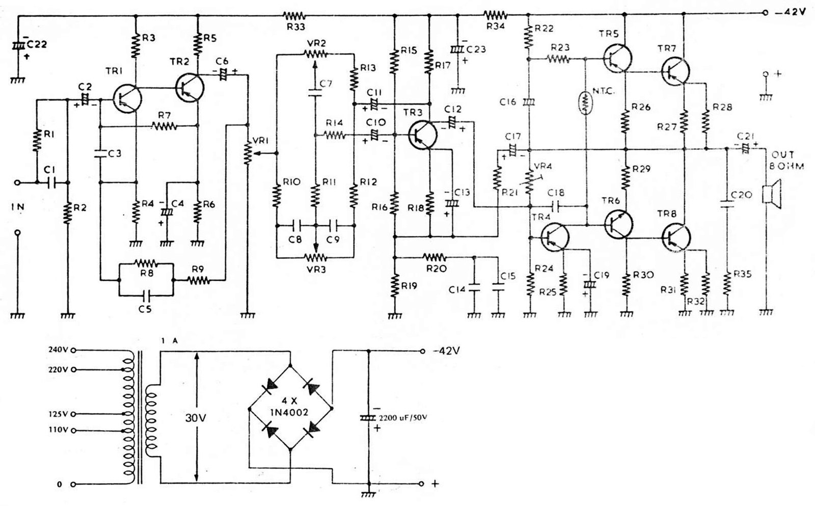 rangkaian amplifier OTL 10 Watt Hi-Fi