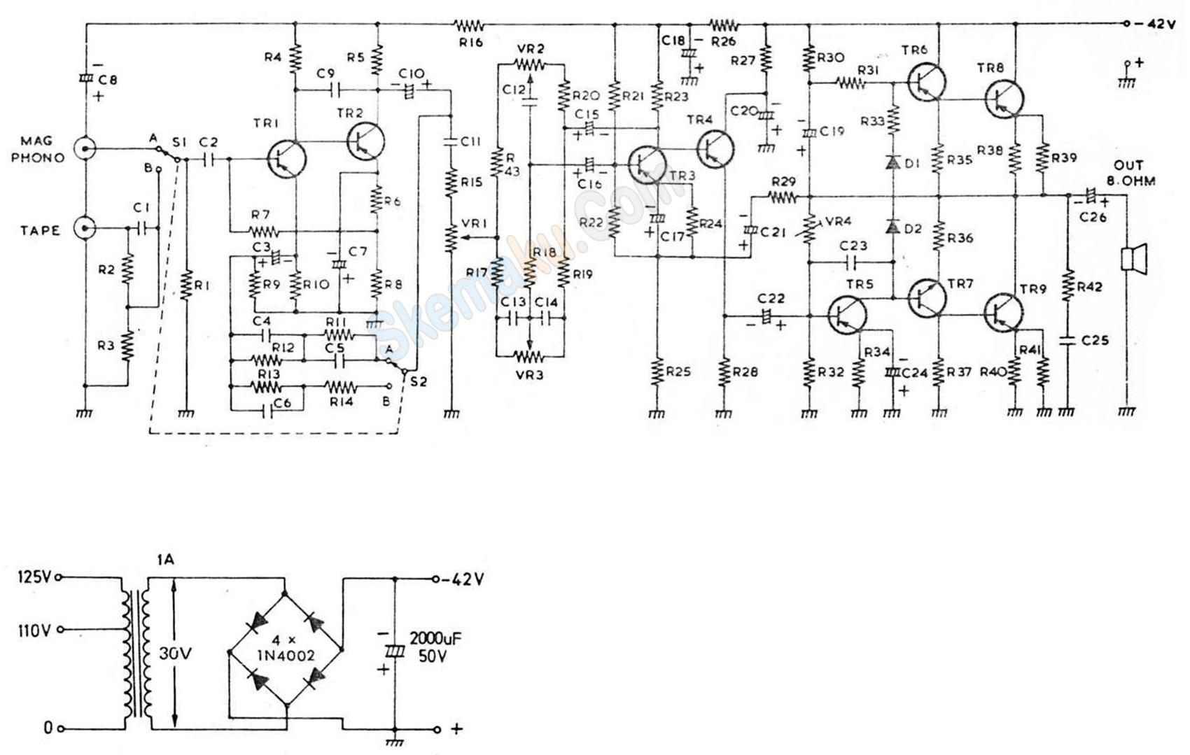 rangkaian amplifier otl 15 watt