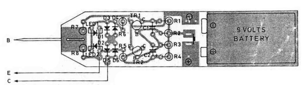 tata letak komponen rangkaian transistor tester