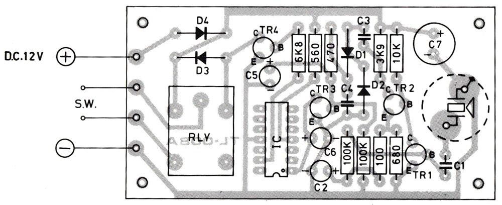 Layout pcb rangkaian penerima remote control ultrasonic
