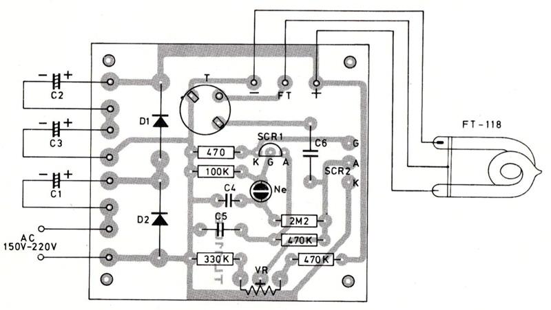 layout pcb rangkaian lampu strobo