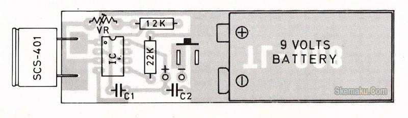 layout pcb rangkaian pemancar remote control ultrasonic