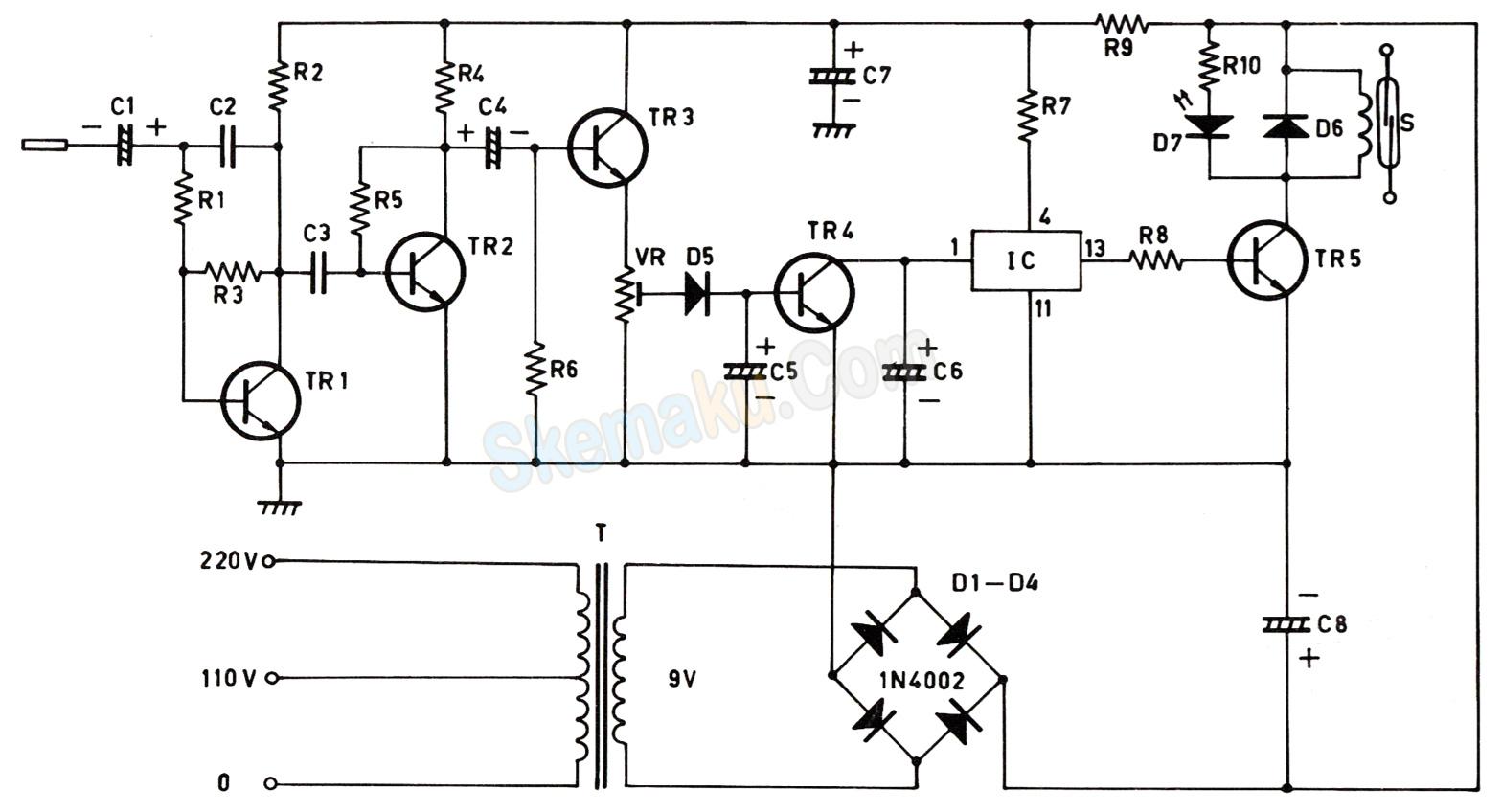 rangkaian saklar sentuh elektronik