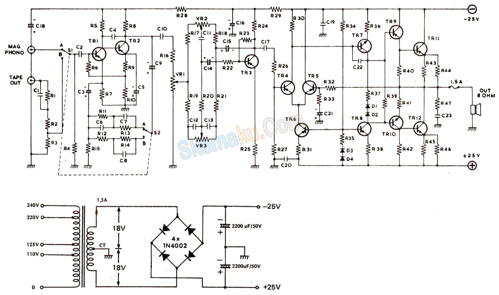 rangkaian amplifier ocl 20 watt hi-fi
