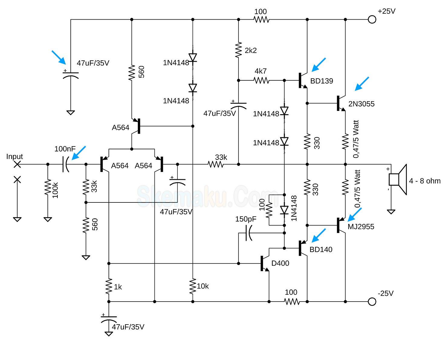 modif power ocl 150 watt untuk subwoofer