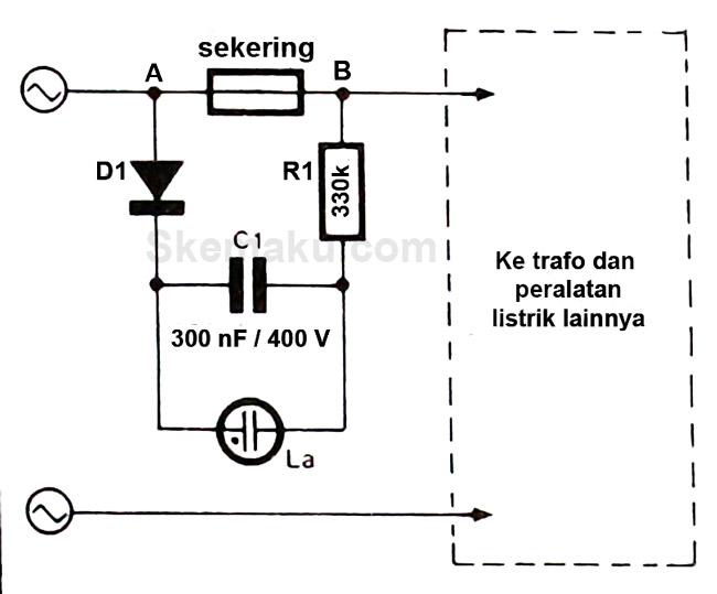 rangkaian indikator sekering putus